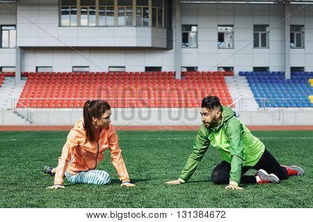 Exercising in the stadium