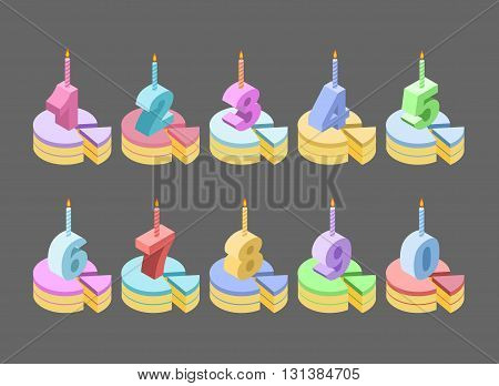 Candles Birthday Cake Number Isometrics. Piece Of Pie Anniversary. Numbers Cartoon Style. Set Of Roo