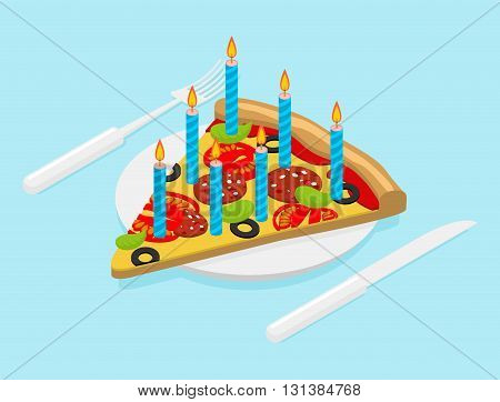Birthday Pizza With Candles Isometrics. Fast Food For Festive. Cutlery Knife And Fork. Holiday Meal