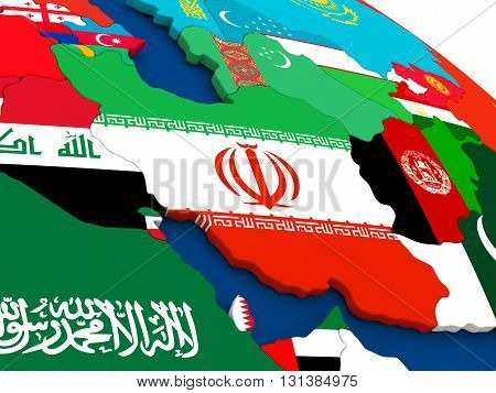 Iran On Globe With Flags