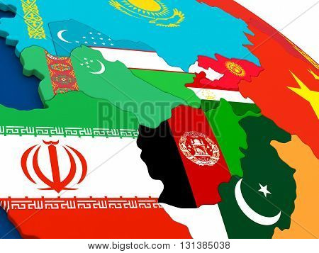 Central Asia On Globe With Flags