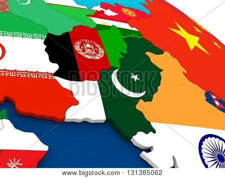 Afghanistan And Pakistan On Globe With Flags