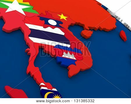 Thailand On Globe With Flags