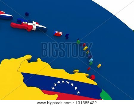 South Caribbean On Globe With Flags
