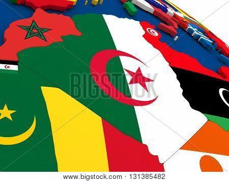 Algeria On Globe With Flags