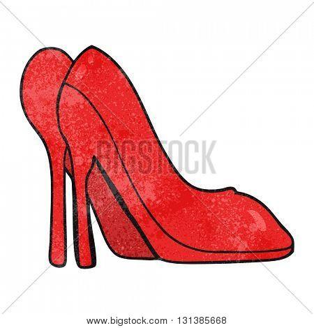 freehand textured cartoon high heel shoes