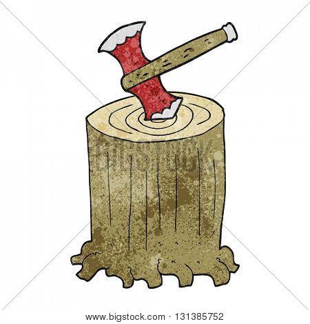 freehand textured cartoon tree stump and axe