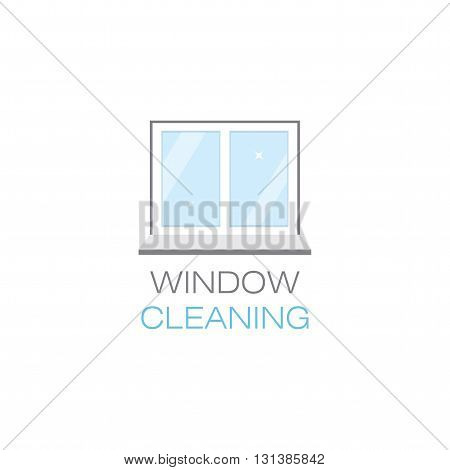 Net sparkling window sill. Window cleaning. The emblem or logo of the cleaning company. Glittering window in the flat style. Vector illustration.