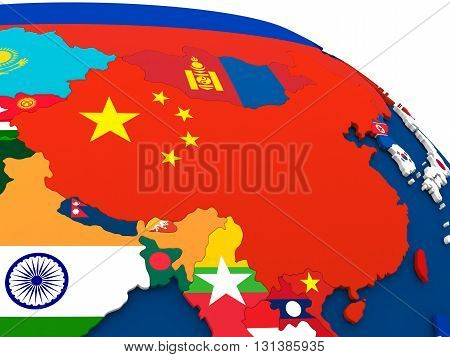 China On Globe With Flags