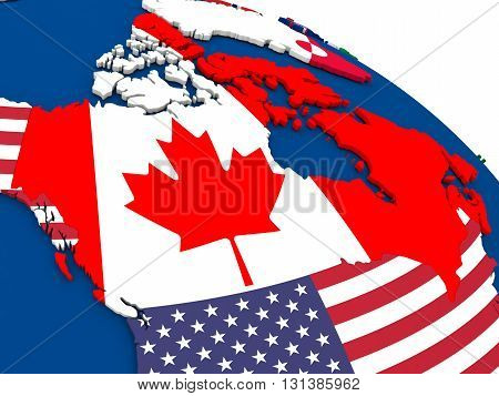 Canada On Globe With Flags