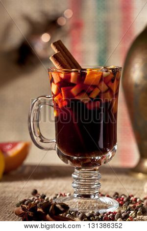 Mulled Wine Cocktail with Cinnamon Stick