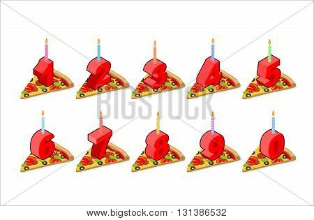 Pizza And  Birthday Numbers Candles Set. Holiday Pizza Slice Isometric. Fast Food For Feast. Numbers