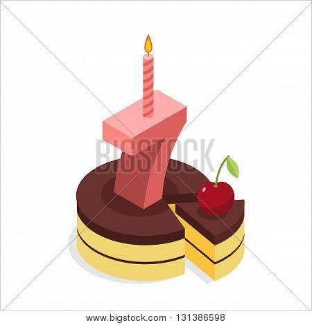 Birthday 7 Years. Cake And Candle Isometrics. Number Seven With Candle. Celebration Of Anniversary C