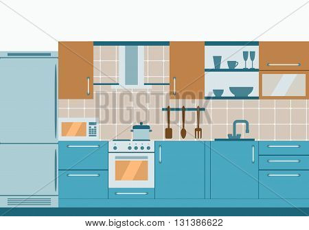 Kitchen interior design with home furniture and kithenware. Vector flat illustration