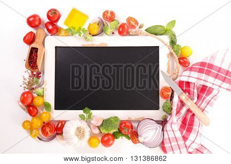 raw food and blackboard isolated on white