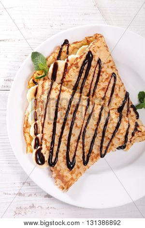 crepe with banana and chocolate