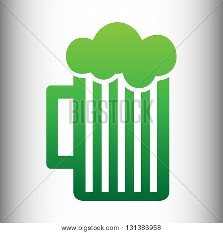 Glass of beer icon. Green gradient icon on gray gradient backround.