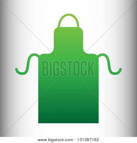 Apron simple icon. Green gradient icon on gray gradient backround.