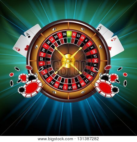 Casino Vector Background with Roulette Wheel, Playing Cards and Poker Chips. Vector Illustration. Gambling Design.