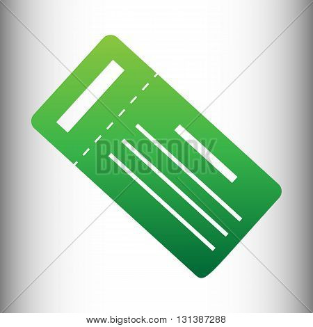 Ticket simple icon. Green gradient icon on gray gradient backround.