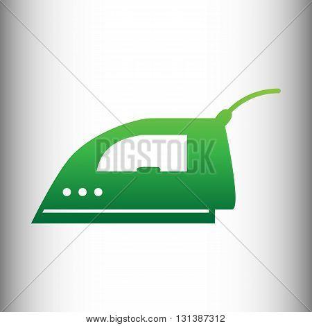 Smoothing, Iron icon. Green gradient icon on gray gradient backround.