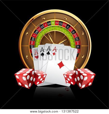 Casino Vector Background with Roulette Wheel, Playing Cards and Dice. Vector Illustration. Gambling Design.