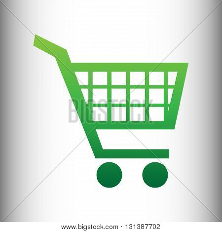 Shopping cart sign. Green gradient icon on gray gradient backround.
