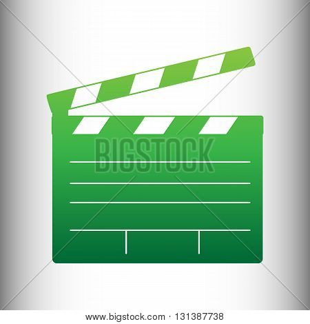 Film clap board cinema sign. Green gradient icon on gray gradient backround.