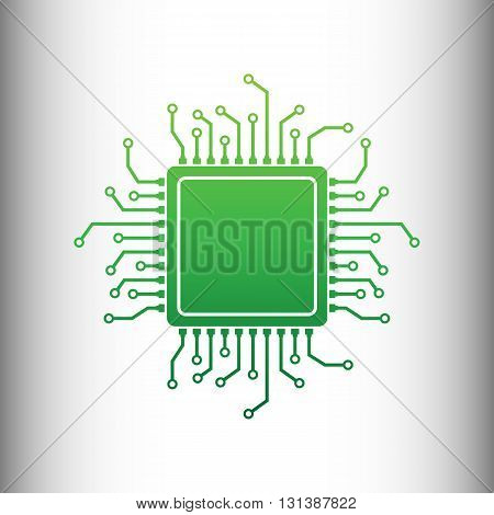CPU Microprocessor. Green gradient icon on gray gradient backround.