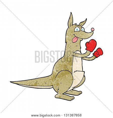 freehand textured cartoon boxing kangaroo