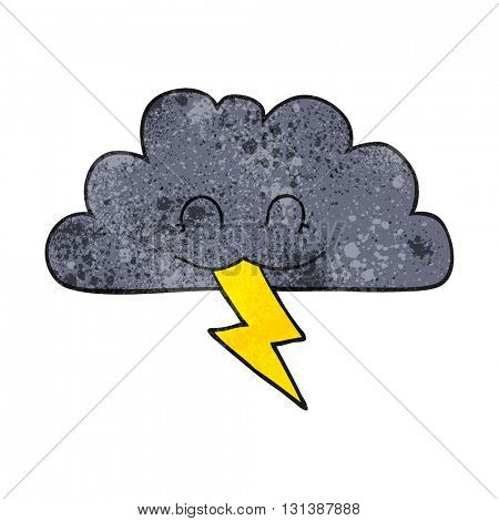 freehand textured cartoon storm cloud
