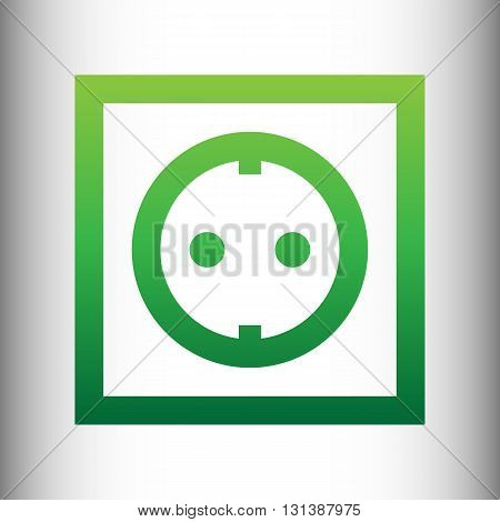 Electrical socket sign. Green gradient icon on gray gradient backround.