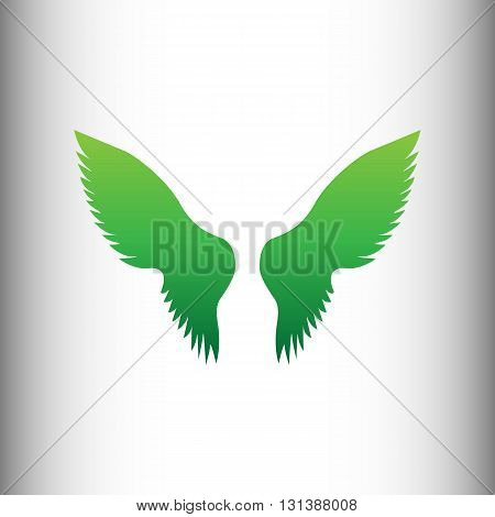 Wings sign. Green gradient icon on gray gradient backround.
