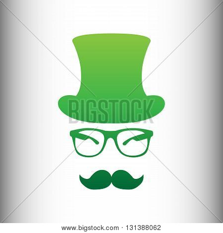 Hipster style accessories design. Green gradient icon on gray gradient backround.