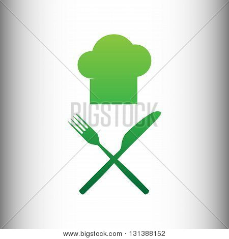 Chef with knife and fork sign. Green gradient icon on gray gradient backround.