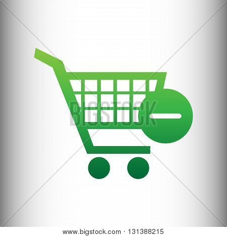 Vector Shopping Cart Remove. Green gradient icon on gray gradient backround.
