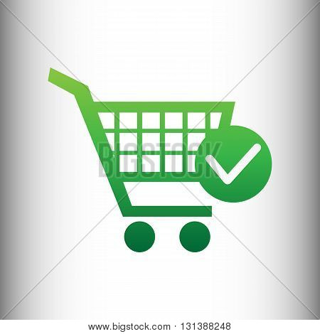 Shopping Cart and Check Mark Icon. Green gradient icon on gray gradient backround.