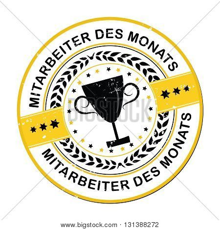 Employee of the month in German language (Mitarbeiter des Monats) - Printable rubber grunge label / badge