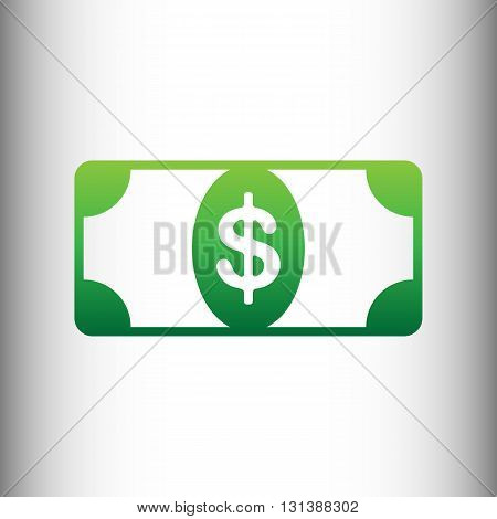 Bank Note dollar sign. Green gradient icon on gray gradient backround.