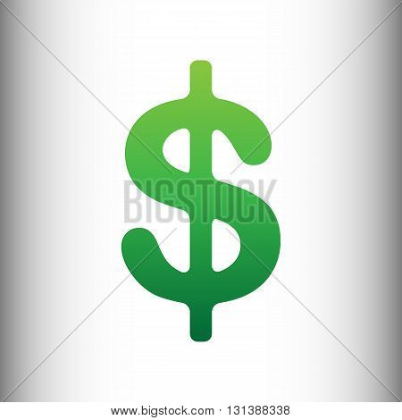 Dollars sign icon. USD currency symbol. Money label. Green gradient icon on gray gradient backround.