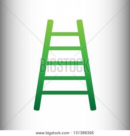 Ladder sign. Green gradient icon on gray gradient backround.