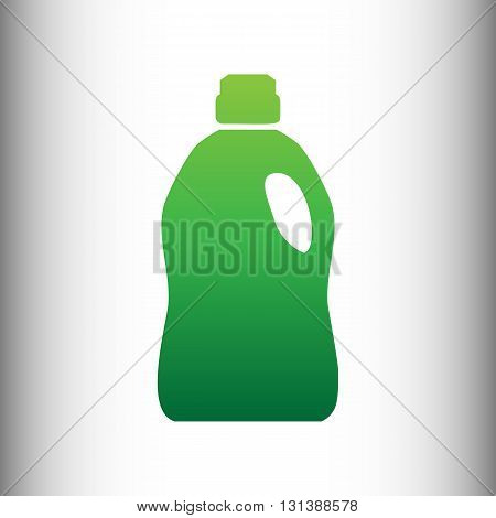 Plastic bottle for cleaning. Green gradient icon on gray gradient backround.