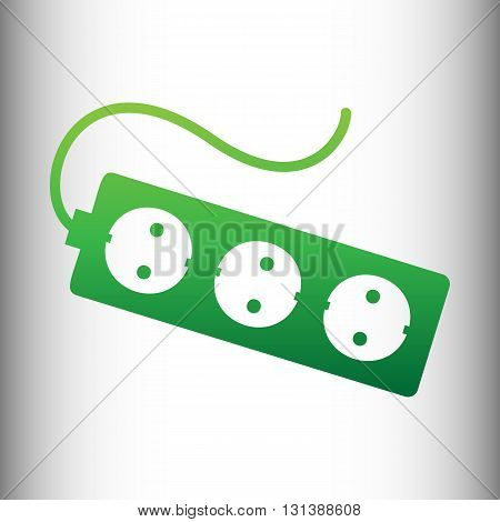 Electric extension, electric plug icon. Green gradient icon on gray gradient backround.