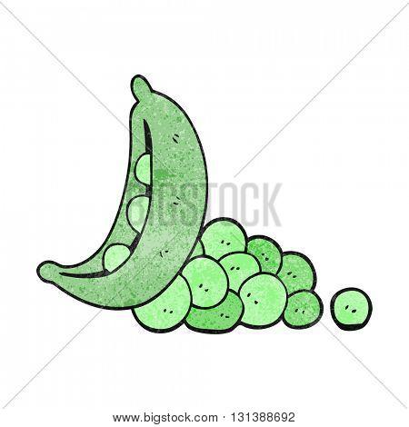 freehand textured cartoon peas in pod