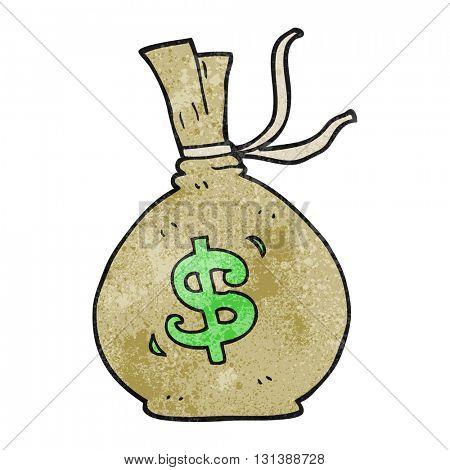 freehand textured cartoon bag of money