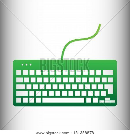 Keyboard simple icon. Green gradient icon on gray gradient backround.