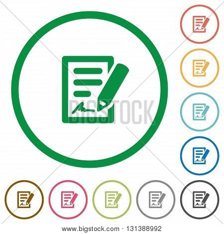 Set of signing contract color round outlined flat icons on white background