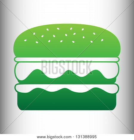 Burger simple icon. Green gradient icon on gray gradient backround.