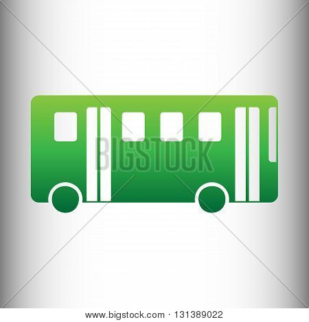 Bus simple icon. Green gradient icon on gray gradient backround.