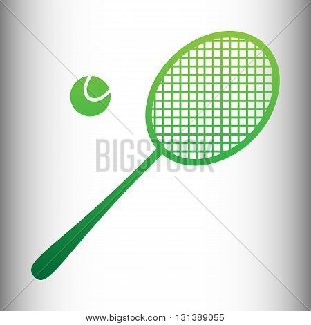 Tennis racquet icon. Green gradient icon on gray gradient backround.